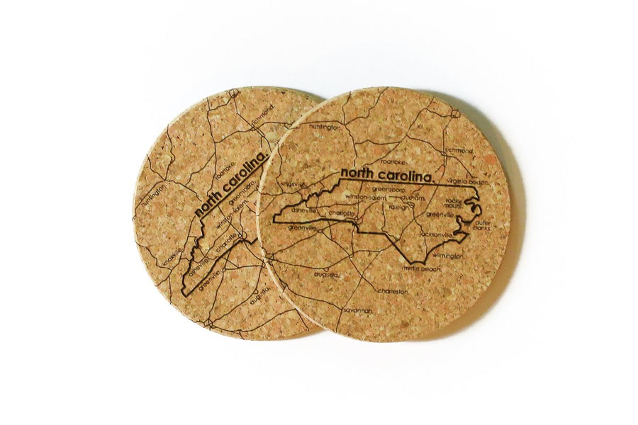 North Carolina - Cork Coaster Pair