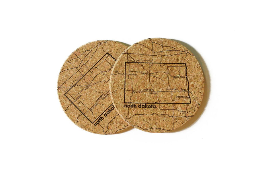 North Dakota - Cork Coaster Pair