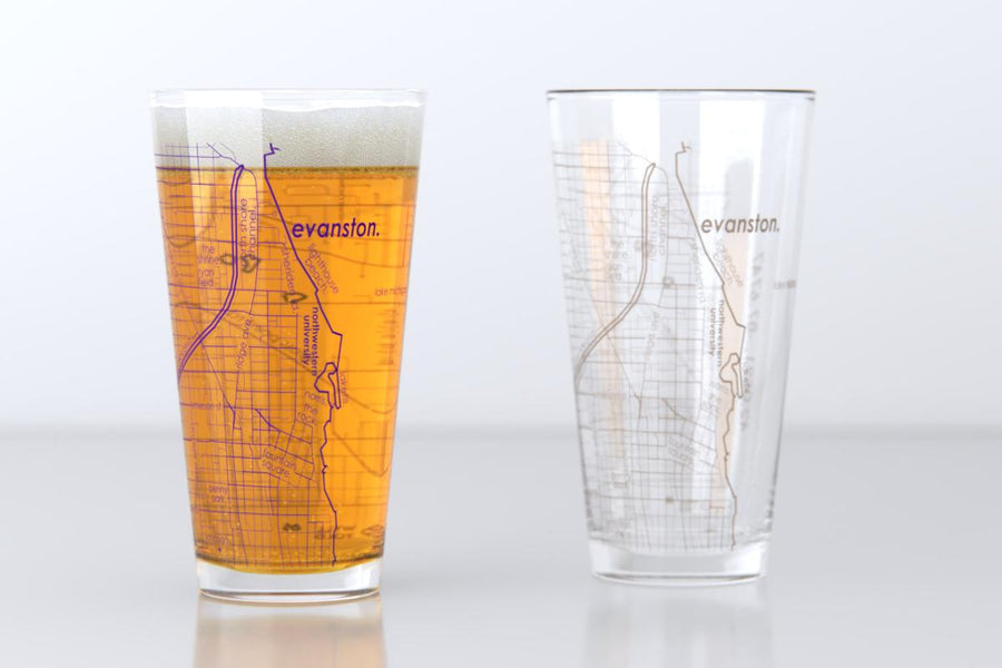 Evanston, IL - Northwestern - College Town Map Pint Glass Pair