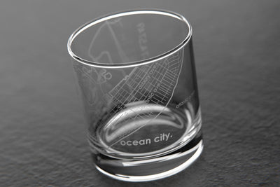 Ocean City NJ Map Rocks Glass