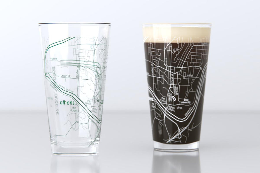 Athens, OH - Ohio University - College Town Map Pint Glass Pair