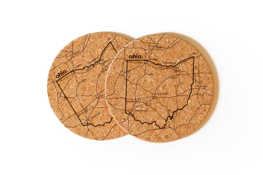 Ohio - Cork Coaster Pair
