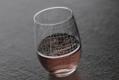 Oklahoma City OK Map Stemless Wine Glass