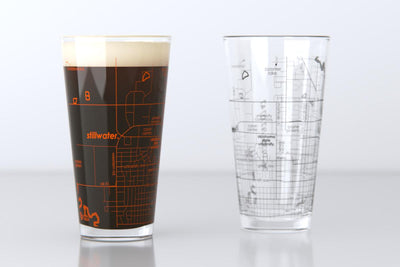Stillwater, OK - Oklahoma State - College Town Map Pint Glass Pair