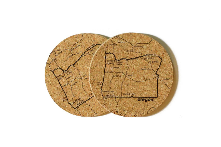 Oregon - Cork Coaster Pair