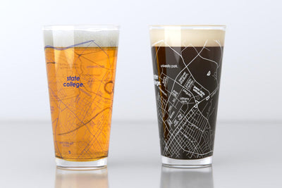 State College, PA - Penn State - College Town Map Pint Glass Pair