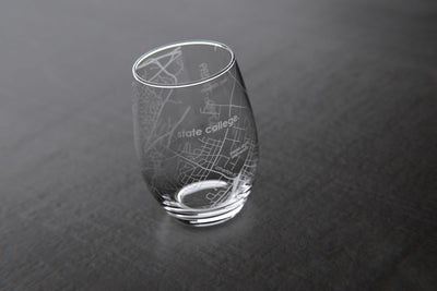 State College, PA - Penn State - College Town Maps Stemless Wine Glass