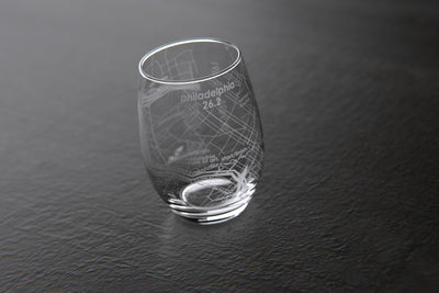 Philadelphia 26.2 - Marathon Map Stemless Wine Glass