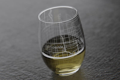 Phoenix AZ Map Stemless Wine Glass