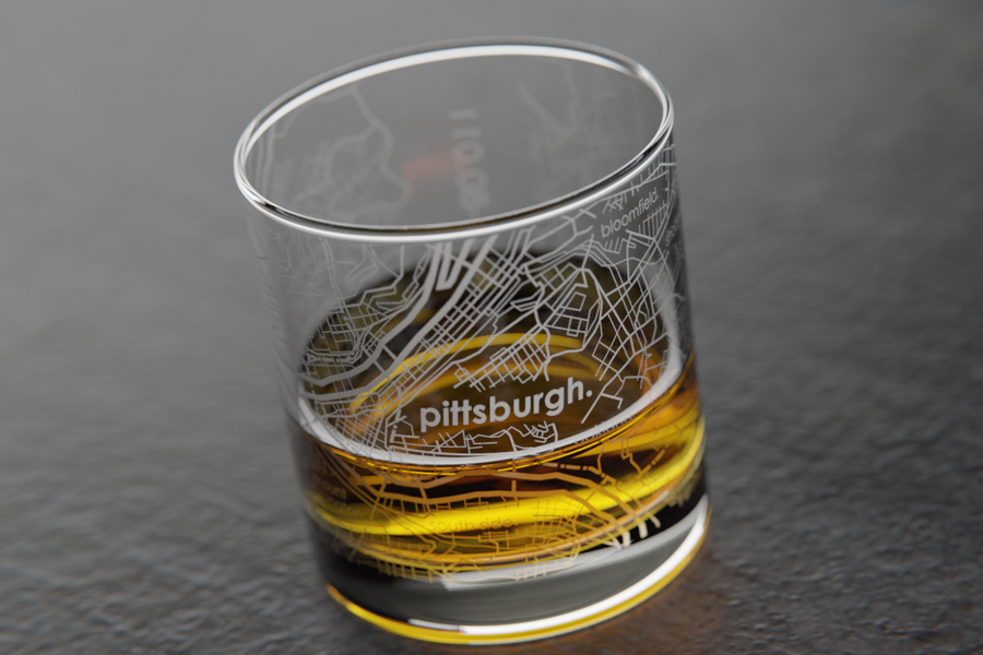 Pittsburgh Map Rocks Glass