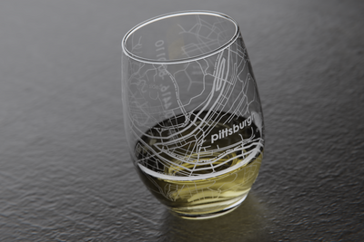 Pittsburgh Map Stemless Wine Glass