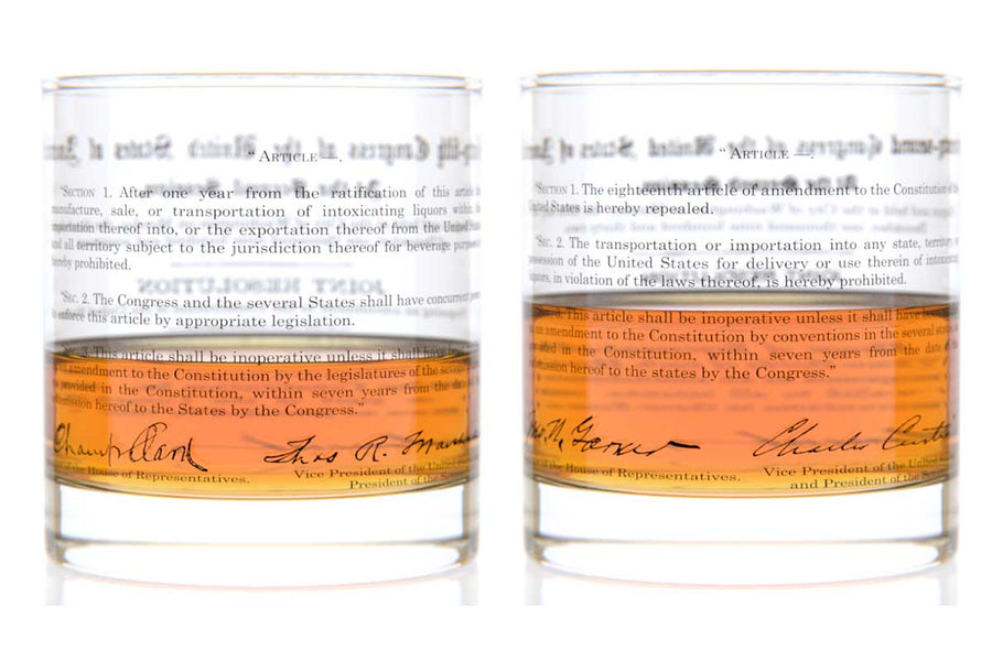 Prohibition Amendment Rocks Glass Pair - 18th and 21st Amendment