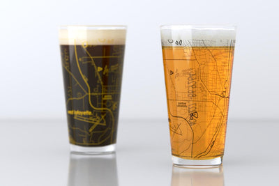 West Lafayette, IN - Purdue - College Town Map Pint Glass Pair