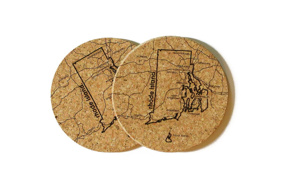 Rhode Island - Cork Coaster Pair