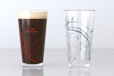 New Brunswick, NJ - Rutgers University - College Town Map Pint Glass Pair