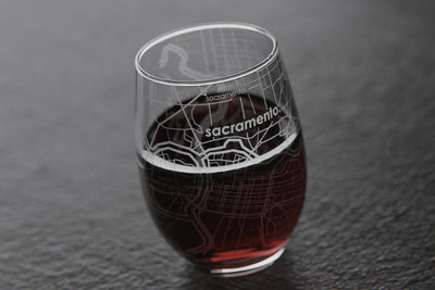 Sacramento CA Map Stemless Wine Glass