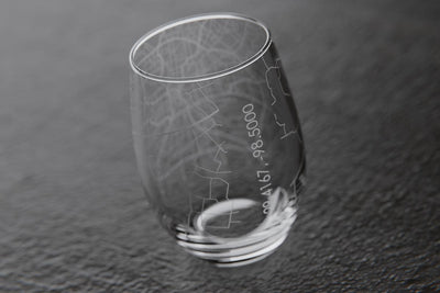 San Antonio TX Map Stemless Wine Glass