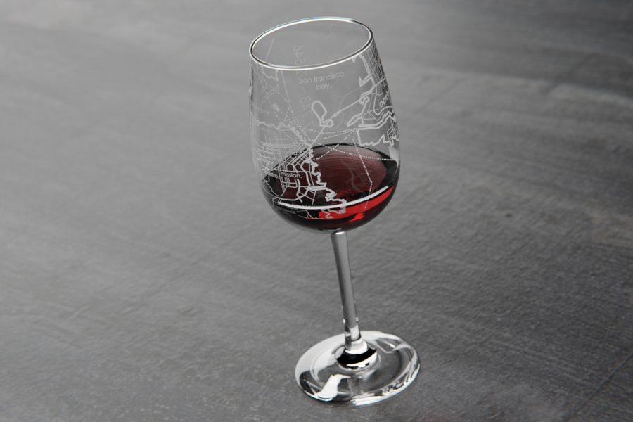 San Francisco Maps Wine Glass