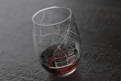 San Jose CA Map Stemless Wine Glass