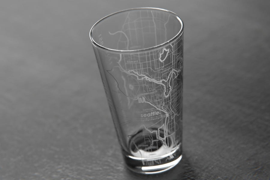 Seattle Map Pint Glass