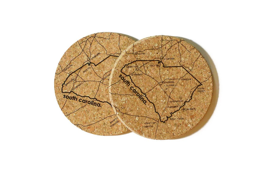 South Carolina - Cork Coaster Pair