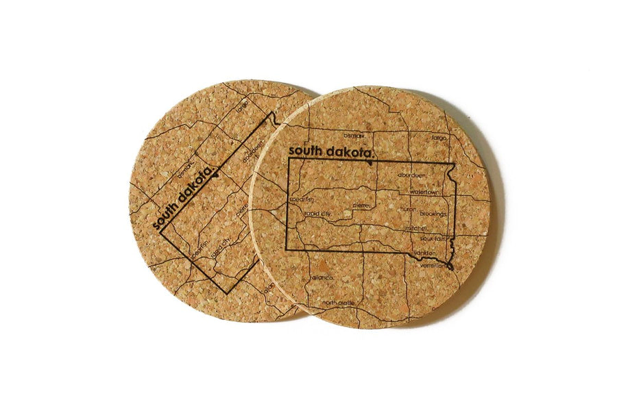 South Dakota - Cork Coaster Pair