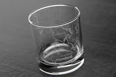 Stamford CT Map Rocks Glass