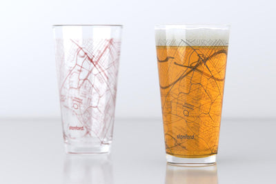 Stanford, CA - Stanford University - College Town Map Pint Glass Pair