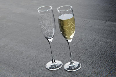 Home Town Maps Stemmed Champagne Flute Pair