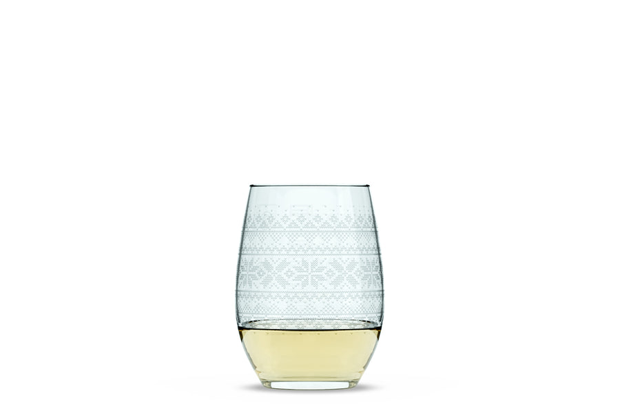 Cross Sweater Stemless Wine Glass