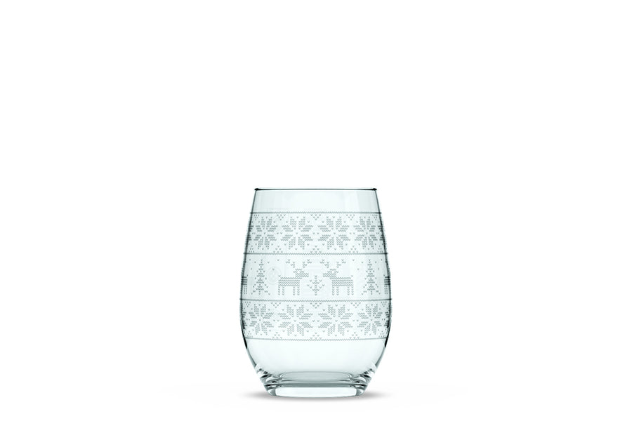 Reindeer Sweater Stemless Wine Glass