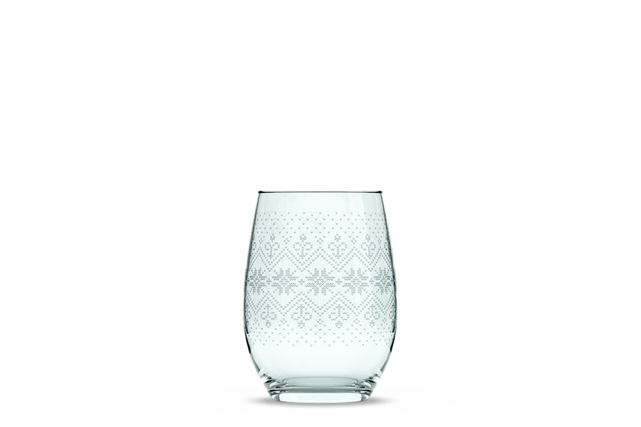 Snowflake Sweater Stemless Wine Glass