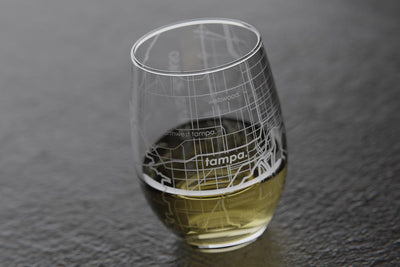 Tampa FL Map Stemless Wine Glass