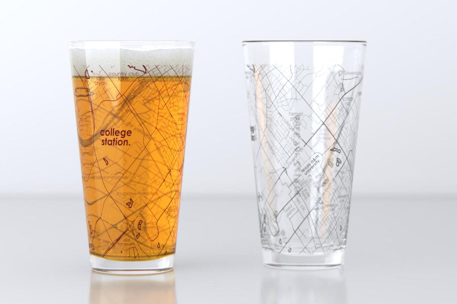 College Station, TX - Texas A&M - College Town Map Pint Glass Pair