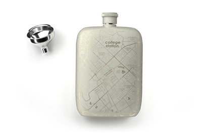 College Town Maps Pocket Flask