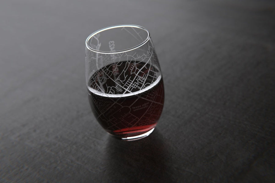 College Station, TX - Texas A&M - College Town Maps Stemless Wine Glass