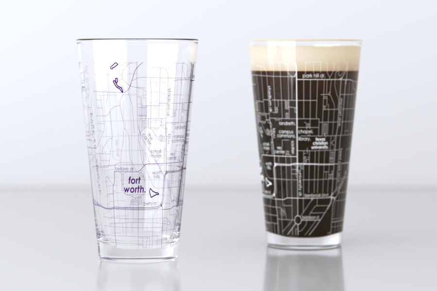 Fort Worth, TX - TCU - Texas Christian University - College Town Map Pint Glass Pair