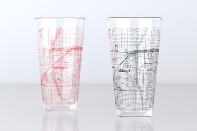 Lubbock, TX - Texas Tech - College Town Map Pint Glass Pair