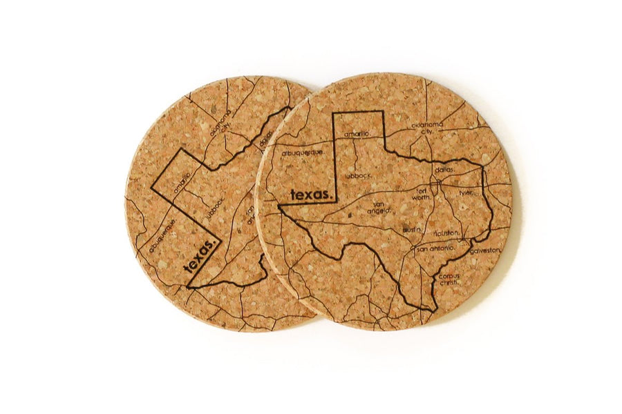 Texas - Cork Coaster Pair