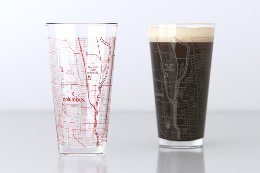 Columbus, OH - Ohio State - College Town Map Pint Glass Pair