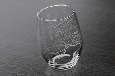Toronto Canada Map Stemless Wine Glass