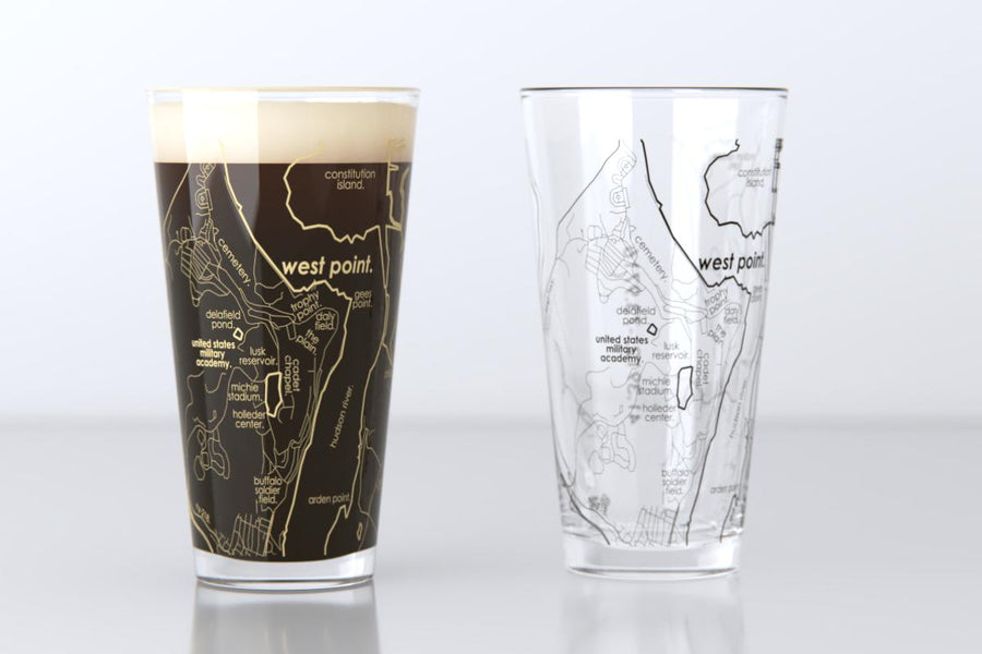 West Point, NY - U.S. Military Academy - College Town Map Pint Glass Pair