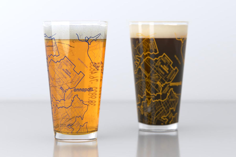 Annapolis, MD - U.S. Naval Academy - College Town Map Pint Glass Pair