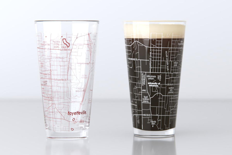 Fayetteville, AR - University of Arkansas - College Town Map Pint Glass Pair