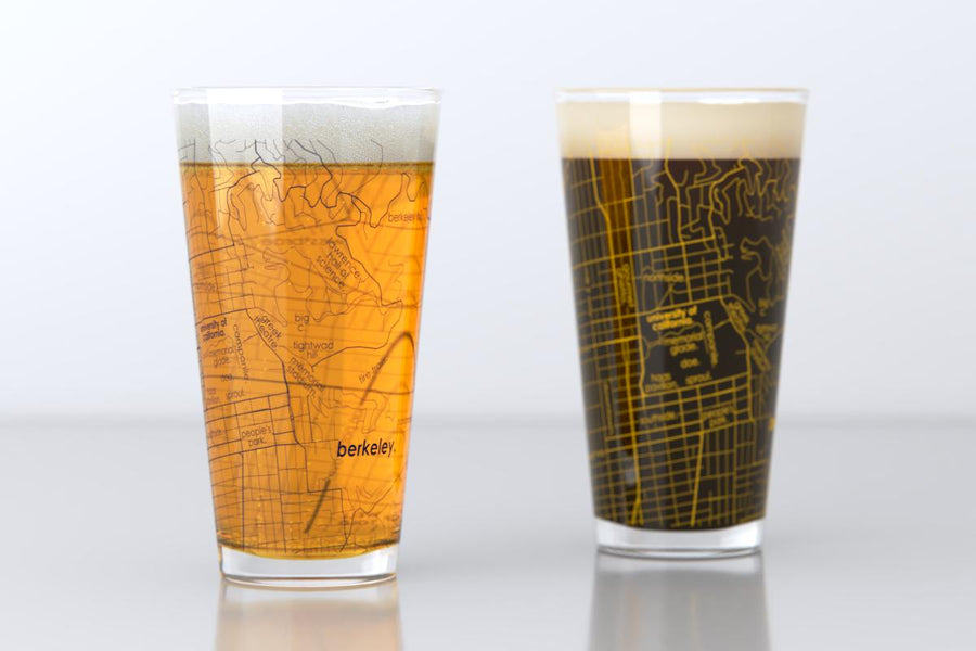 Berkeley, CA - UC Berkeley - College Town Map Pint Glass Pair