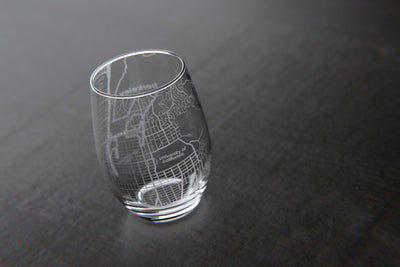 Berkeley, CA - UC Berkeley - College Town Maps Stemless Wine Glass