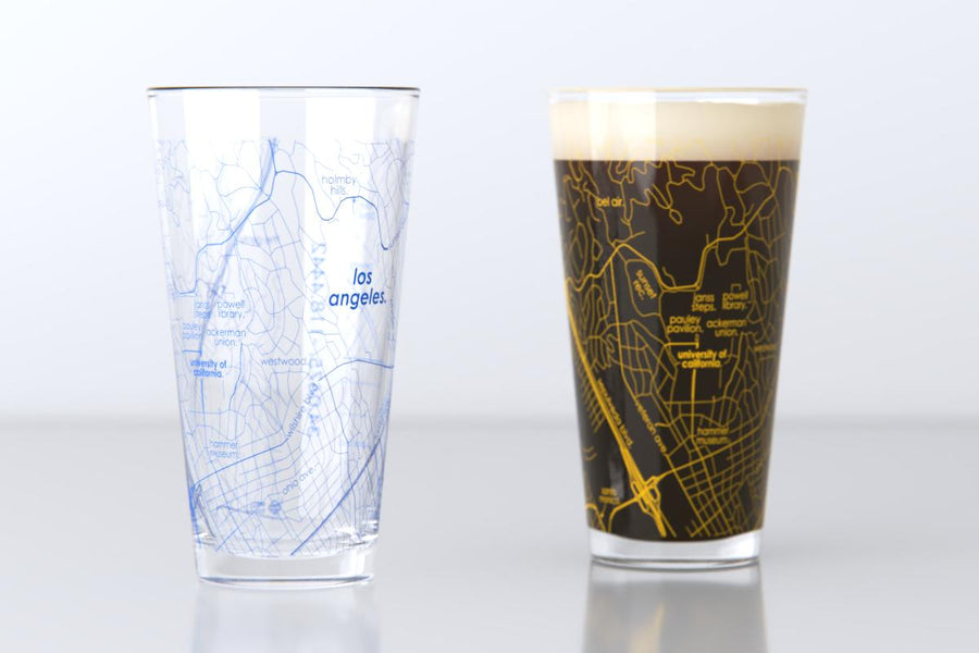 Los Angeles, CA - UCLA - College Town Map Pint Glass Pair