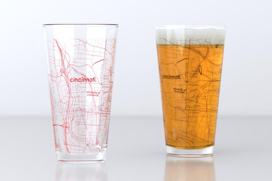 Cincinnati, OH - University of Cincinnati - College Town Map Pint Glass Pair