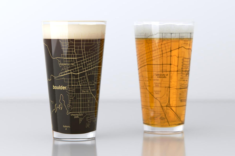 Boulder, CO - CU Boulder - College Town Map Pint Glass Pair