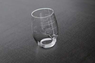 Boulder, CO - CU Boulder - College Town Maps Stemless Wine Glass